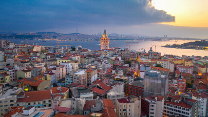 Wall Mural - Aerial view of Galata tower and Istanbul city in Turkey.