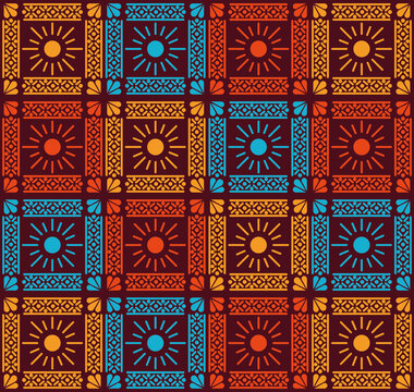 Mexican flowers pattern background vector design