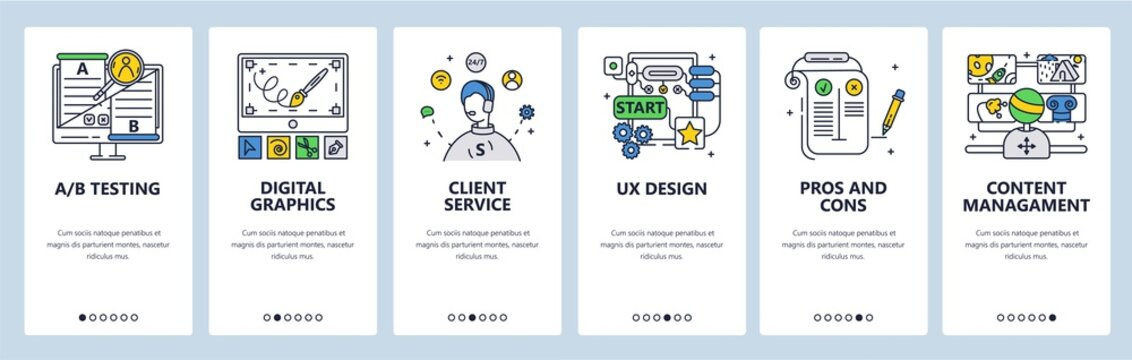 Design thinking process. Digital graphics ab testing customer service. Mobile app screens vector website banner template
