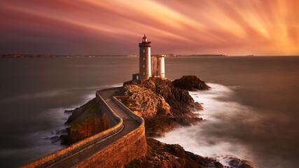 lighthouse island sunset 4k background