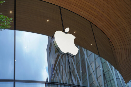 BANGKOK, THAILAND SEPTEMBER 16, 2020: Apple logo on Apple store. Apple is the multinational technology corporation headquartered in Cupertino, California and sells consumer electronics products