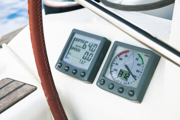 Sailing yacht navigation equipment, control panel