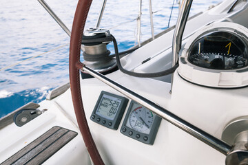 Sailing yacht navication equipment, control panel