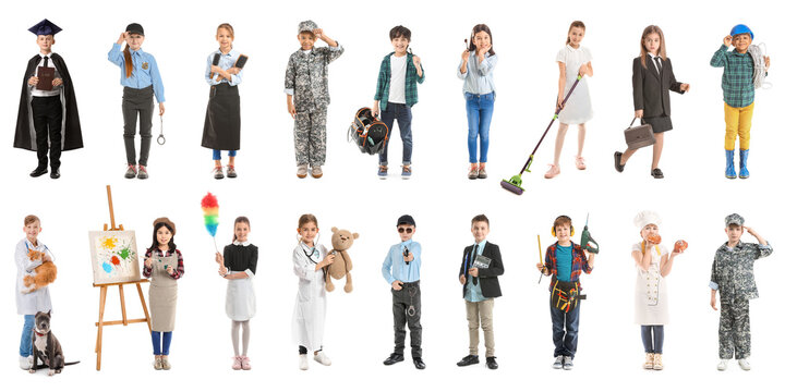 Collage with little children in uniforms of different professions on white background
