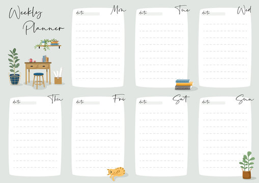 Set of weekly planner and to do list with home interior decor illustrations. Template for agenda, schedule, planners, checklists, notebooks, cards and other stationery.
