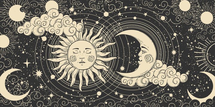Magical banner for astrology, celestial alchemy. Heavenly art for the zodiac, tarot, device of the universe, crescent moon with a face, clouds, sun with the moon on a black background. Esoteric vector