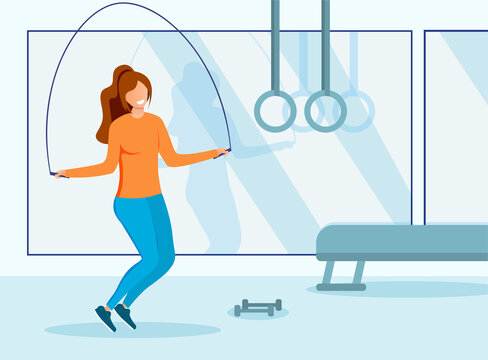 Health and fitness concept with girl in a gym working out with a skipping rope, colored vector illustration