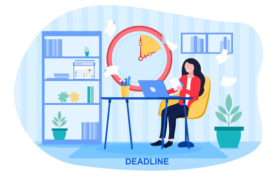 Businesswoman working to a Deadline as the clock counts down above her desk in the office, colored vector illustration