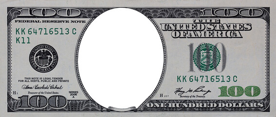 U.S. 100 dollar border with empty middle area