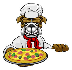 A bulldog chef mascot cartoon character holding a pizza peeking round a sign