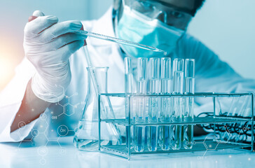Scientist hand holding pipette dropping a sample into a test tube and science experiments ,Laboratory glassware containing chemical liquid,