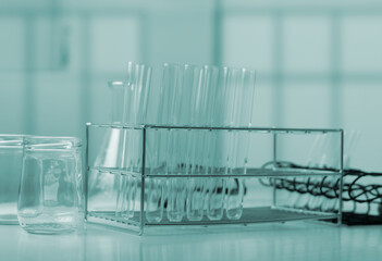 Test tube and science experiments,Laboratory glassware containing chemical liquid,