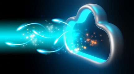 Data to cloud storage. Cloud computing technology concept