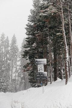 Snow advisory signs, Yosemite National Park, Yosemite, California, United States