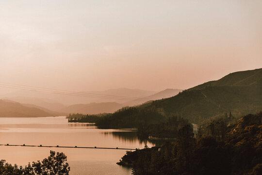 Tranquil sunset lake view, Whiskeytown Lake, Redding, California, USA