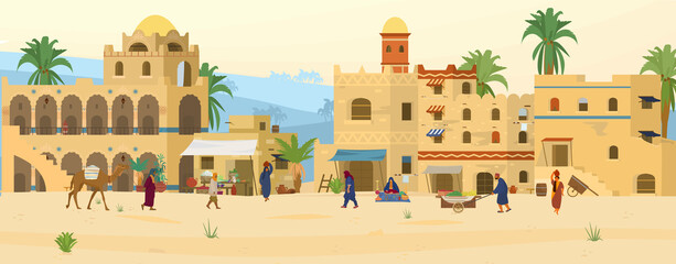 Vector illustration of Middle Eastern Scene. Ancient Arabic City In Desert with traditional mud brick houses and people. Asian Bazaar.