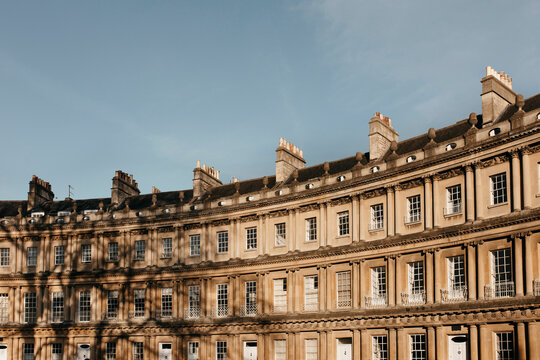 Sunny curved building, Bath, Somerset, UK