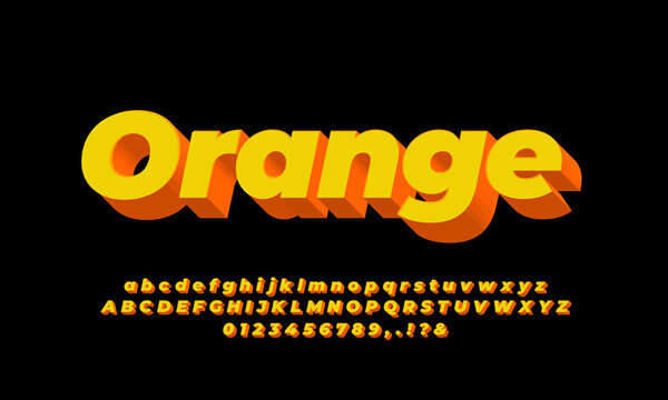 3d abstract modern orange and yellow   font effect or text effect