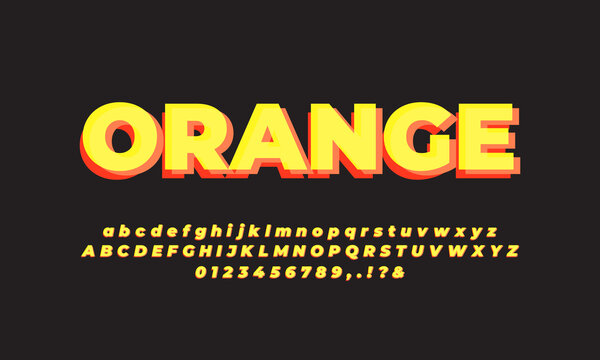 modern  layered orange and yellow   font effect or text effect
