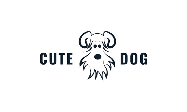 Shih Tzu dog face cute logo design cartoon