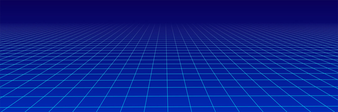 Abstract perspective blue grid. Wireframe landscape. Vector illustration.