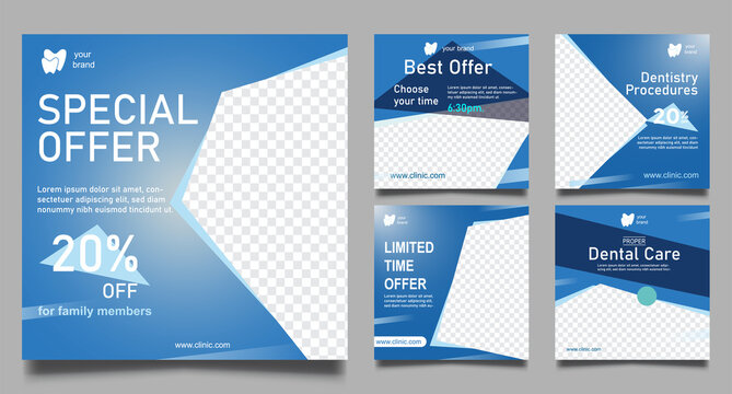 Dentist social media post templates. Medical promotion square web banner. Special offer banner. Sale and discount backgrounds. Vector illustration.