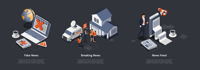 Fototapeta Fake News, Breaking News, News Feed Concept. Fake Information In Newspaper And Internet. Journalist Interviewing Family, News Feed From International Media Source. 3d Isometric Vector Illustration Set