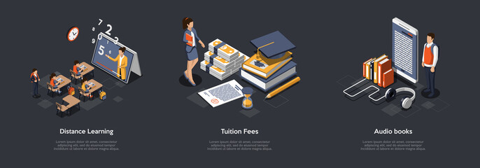 Fototapeta Online Learning, Education Concept. Set Of Compositions With Pupils Or Students Studying Distantly, Tuition Fees, Payments And Books Released In Audio Format. Colorful 3d Isometric Vector Illustration
