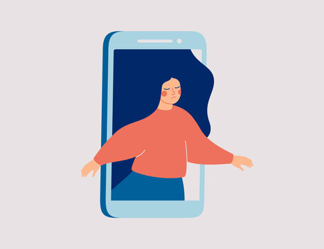 Sad female runs out of the mobile phone. Girl feels vulnerable and lonely on social online spaces. Social media influence on mental health and wellness. Vector illustration