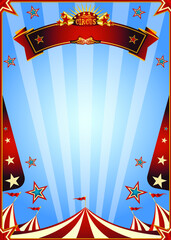 Circus poster show. A blue circus background for a poster with a ribbon for your message.