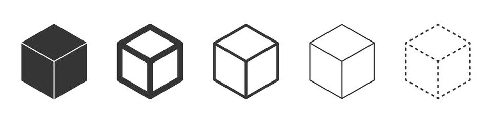 Cube vector icons. Black Cube icons.
