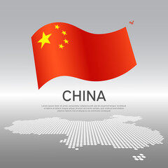 China wavy flag and mosaic map on light background. Creative background for the national chinese poster. Vector design. Business booklet. State chinese patriotic banner, flyer