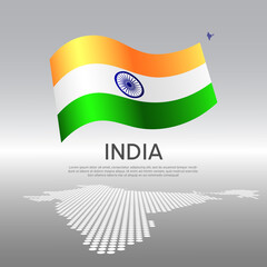 India wavy flag and mosaic map on light background. Creative background for the national indian poster. Vector tricolor design. Business booklet. State indian patriotic banner, flyer