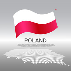Poland wavy flag and mosaic map on light background. Creative background for the national Polish poster. Vector design. Business booklet. State polish patriotic banner, flyer