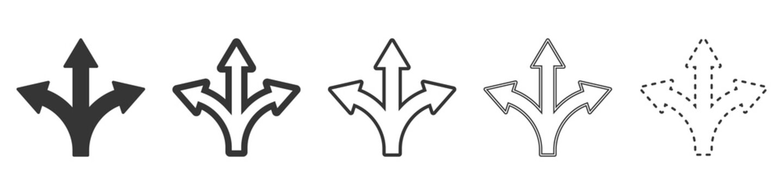 Three-way direction arrows. Black arrows.