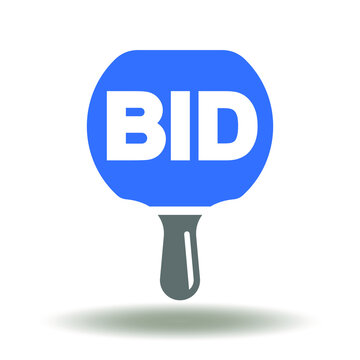 Bid paddle icon vector. Auction bidding symbol.