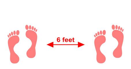 Abstand halten, Fußspuren in einer Illustration