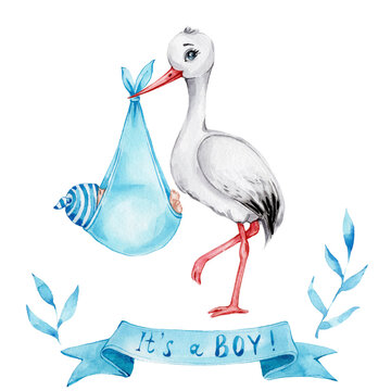 """Cute cartoon stork with baby boy and blue ribbon """"It's a boy!"""" and blue leaves; watercolor hand draw illustration; can be used for baby shower; with white isolated background"""