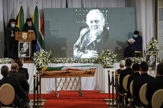 Mourners attend the funeral of human rights lawyer George Bizos in Johannesburg, South Africa
