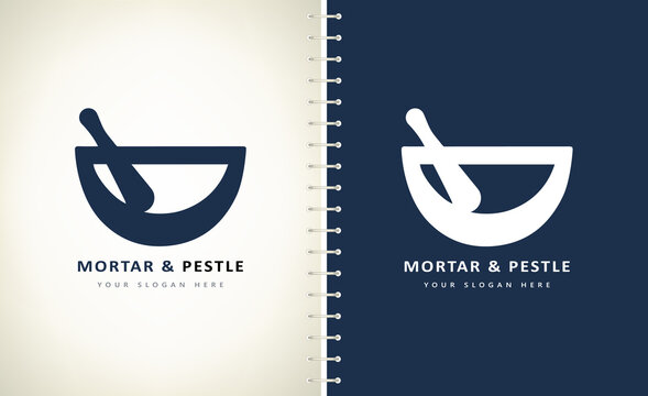 Mortar and Pestle logo vector crushing and grinding tool