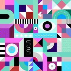 Abstract geometric art graphic illustration. Multicolored seamless design.