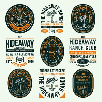 Colored hideaway ranch adventure vector badges