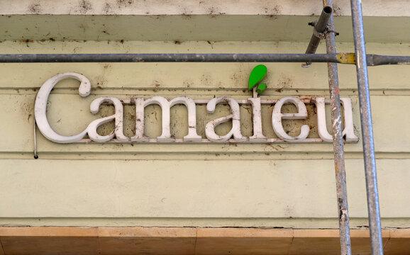 The logo of clothing company Camaieu is seen in Olomouc