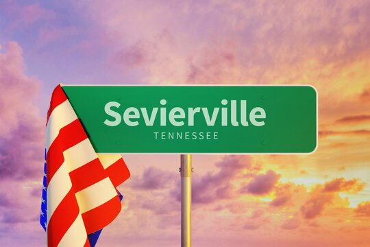 Sevierville - Tennessee/USA. Road or City Sign. Flag of the united states. Sunset Sky.