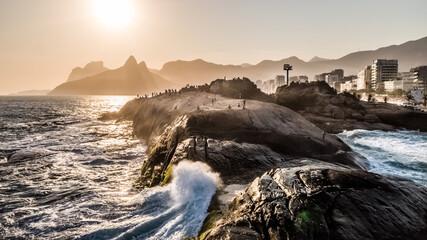 Arpoador Stone in Rio de Janeiro, a classical touristic place