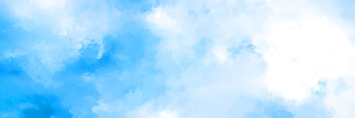 Beautiful watercolor white blue splashed background, cloudy summer or spring sky paper