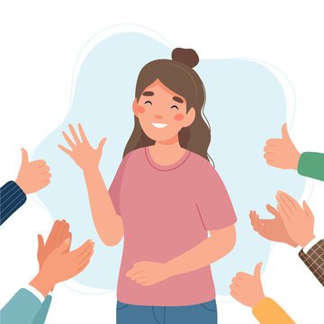 Happy young woman surrounded by hands with thumbs up and applauding. Success and social approval and acceptance concept