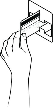 Hand holding a credit card inserting it into a card reading slot.