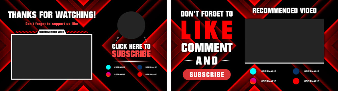 Youtube End Screen with red design and red lines. Youtube Video Template,  background,  Outro Card, end screen, banner, channel. Social media design.