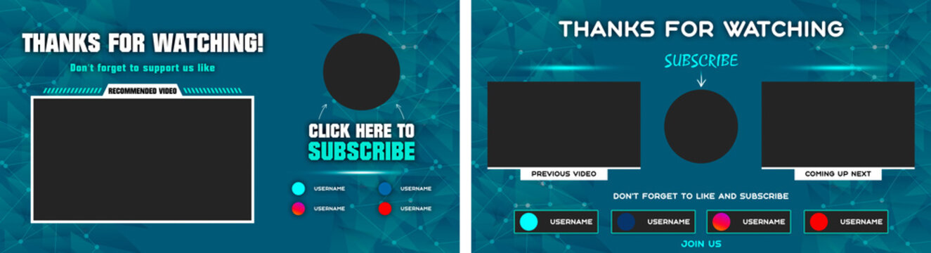 Youtube End Screen with blue design and blue lines. Youtube Video Template,  background,  Outro Card, end screen, banner, channel. Social media design.